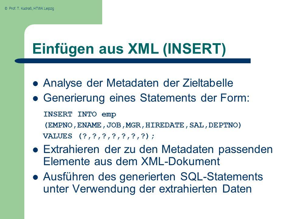 © Prof. T. Kudraß, HTWK Leipzig Einfügen aus XML (INSERT) Analyse der Metadaten der Zieltabelle Generierung eines Statements der Form: INSERT INTO emp