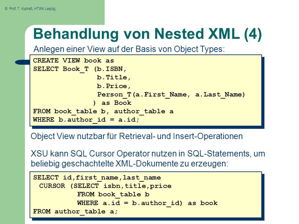 © Prof. T. Kudraß, HTWK Leipzig Behandlung von Nested XML (4) CREATE VIEW book as SELECT Book_T (b.ISBN, b.Title, b.Price, Person_T(a.First_Name, a.La