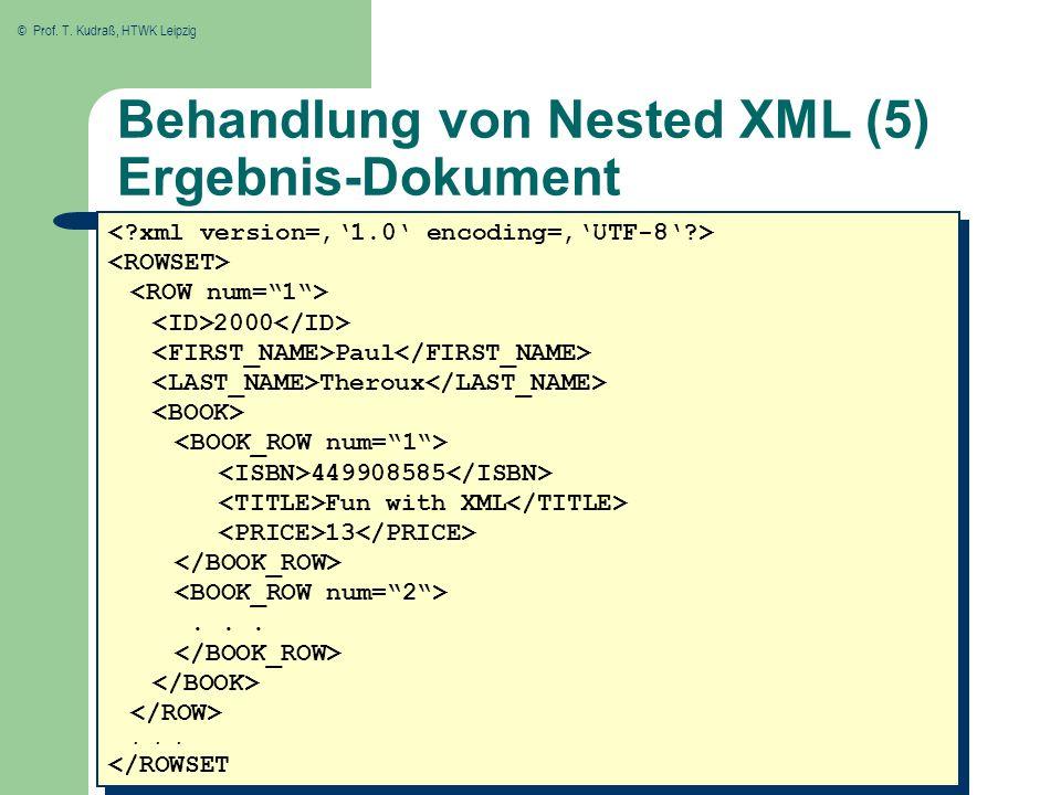 © Prof. T. Kudraß, HTWK Leipzig Behandlung von Nested XML (5) Ergebnis-Dokument 2000 Paul Theroux 449908585 Fun with XML 13...... </ROWSET 2000 Paul T