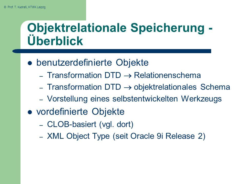 © Prof. T. Kudraß, HTWK Leipzig Objektrelationale Speicherung - Überblick benutzerdefinierte Objekte – Transformation DTD Relationenschema – Transform