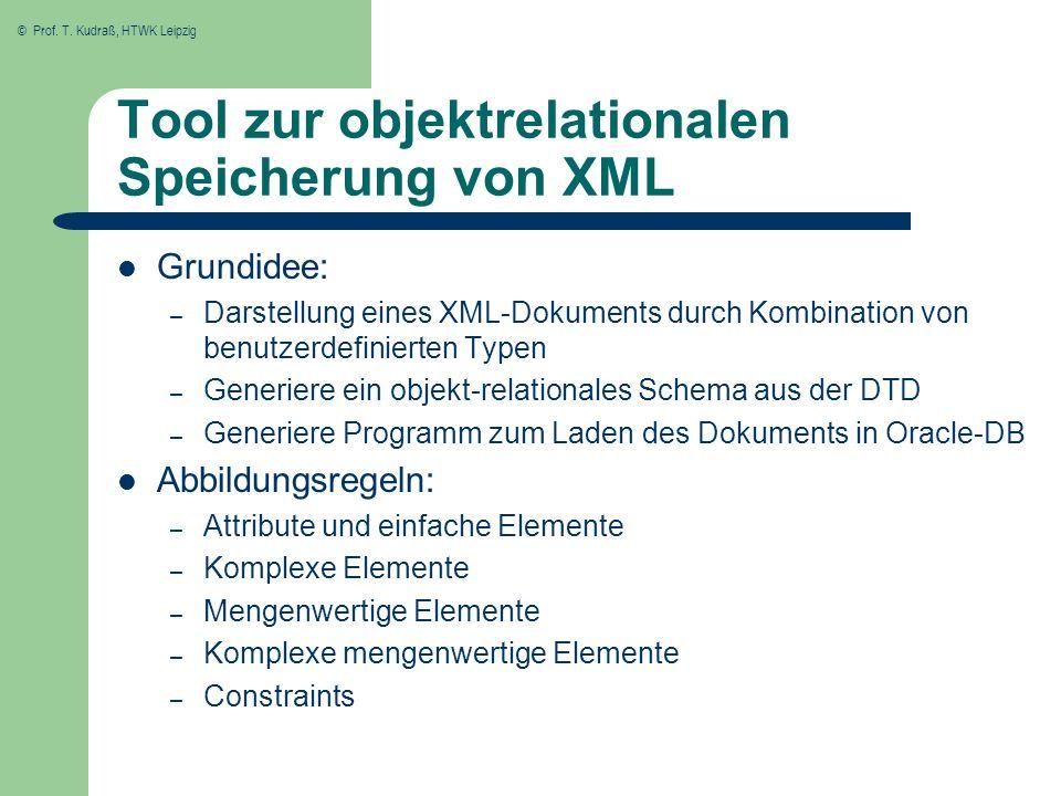 © Prof. T. Kudraß, HTWK Leipzig Tool zur objektrelationalen Speicherung von XML Grundidee: – Darstellung eines XML-Dokuments durch Kombination von ben