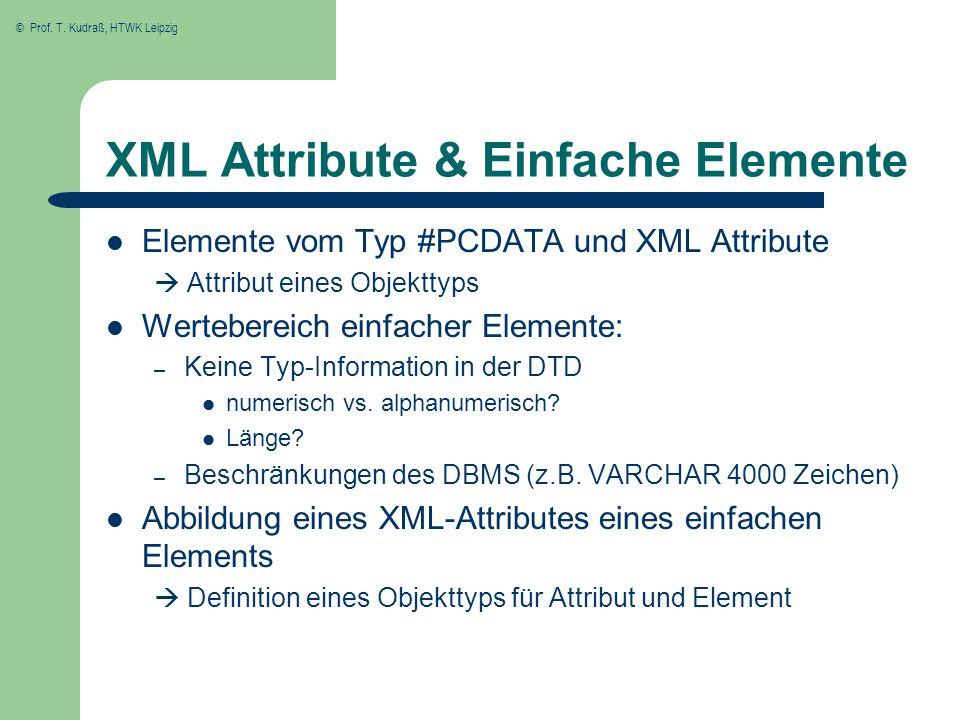 © Prof. T. Kudraß, HTWK Leipzig XML Attribute & Einfache Elemente Elemente vom Typ #PCDATA und XML Attribute Attribut eines Objekttyps Wertebereich ei