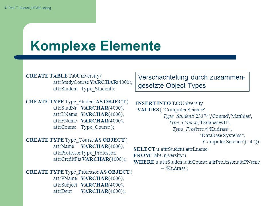 © Prof. T. Kudraß, HTWK Leipzig Komplexe Elemente CREATE TABLE TabUniversity ( attrStudyCourse VARCHAR(4000), attrStudent Type_Student ); CREATE TYPE