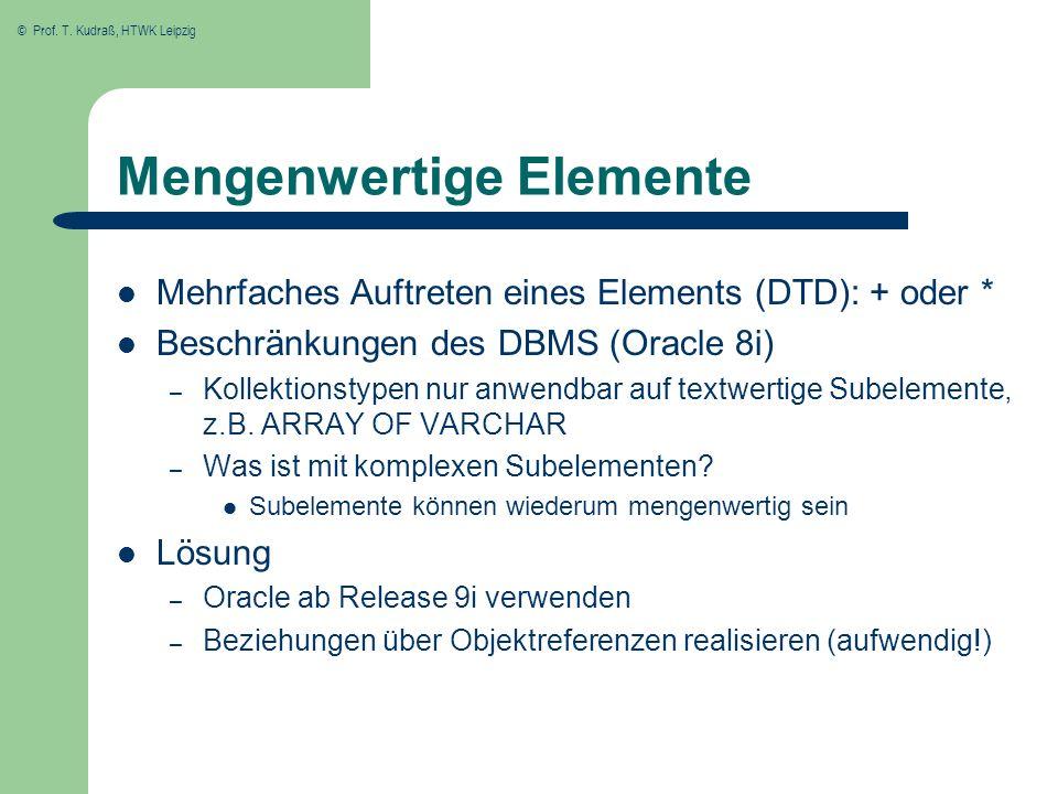 © Prof. T. Kudraß, HTWK Leipzig Mengenwertige Elemente Mehrfaches Auftreten eines Elements (DTD): + oder * Beschränkungen des DBMS (Oracle 8i) – Kolle