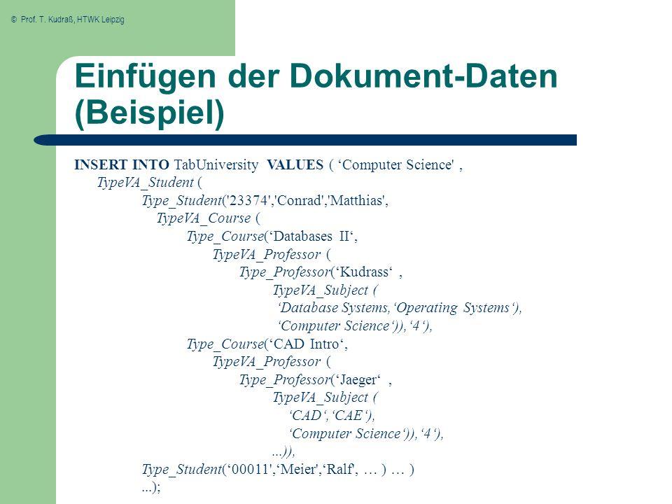 © Prof. T. Kudraß, HTWK Leipzig Einfügen der Dokument-Daten (Beispiel) INSERT INTO TabUniversity VALUES ( Computer Science', TypeVA_Student ( Type_Stu