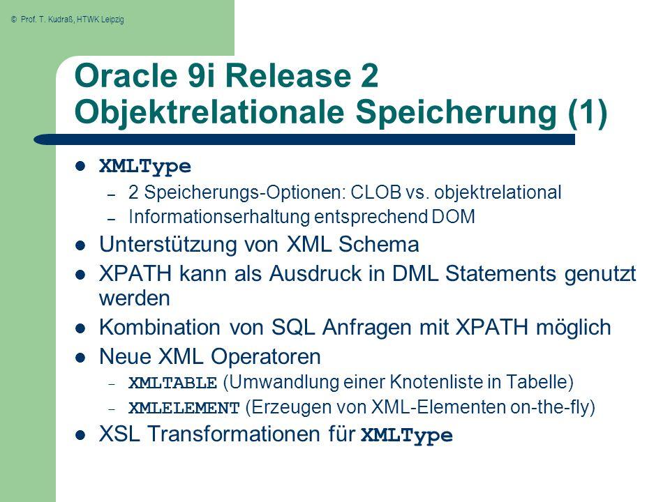 © Prof. T. Kudraß, HTWK Leipzig Oracle 9i Release 2 Objektrelationale Speicherung (1) XMLType – 2 Speicherungs-Optionen: CLOB vs. objektrelational – I