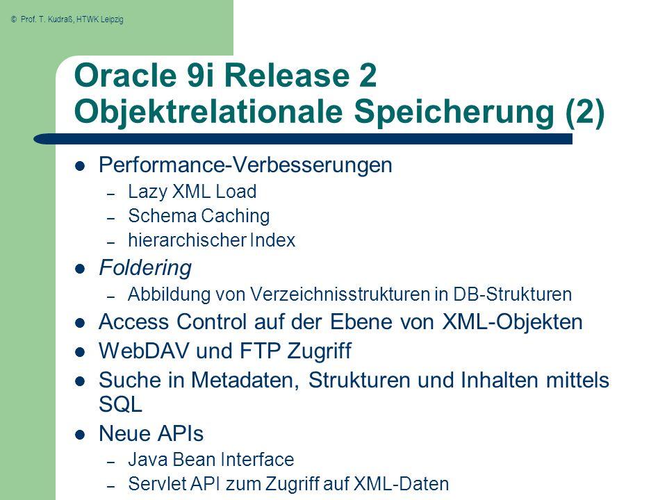 © Prof. T. Kudraß, HTWK Leipzig Oracle 9i Release 2 Objektrelationale Speicherung (2) Performance-Verbesserungen – Lazy XML Load – Schema Caching – hi