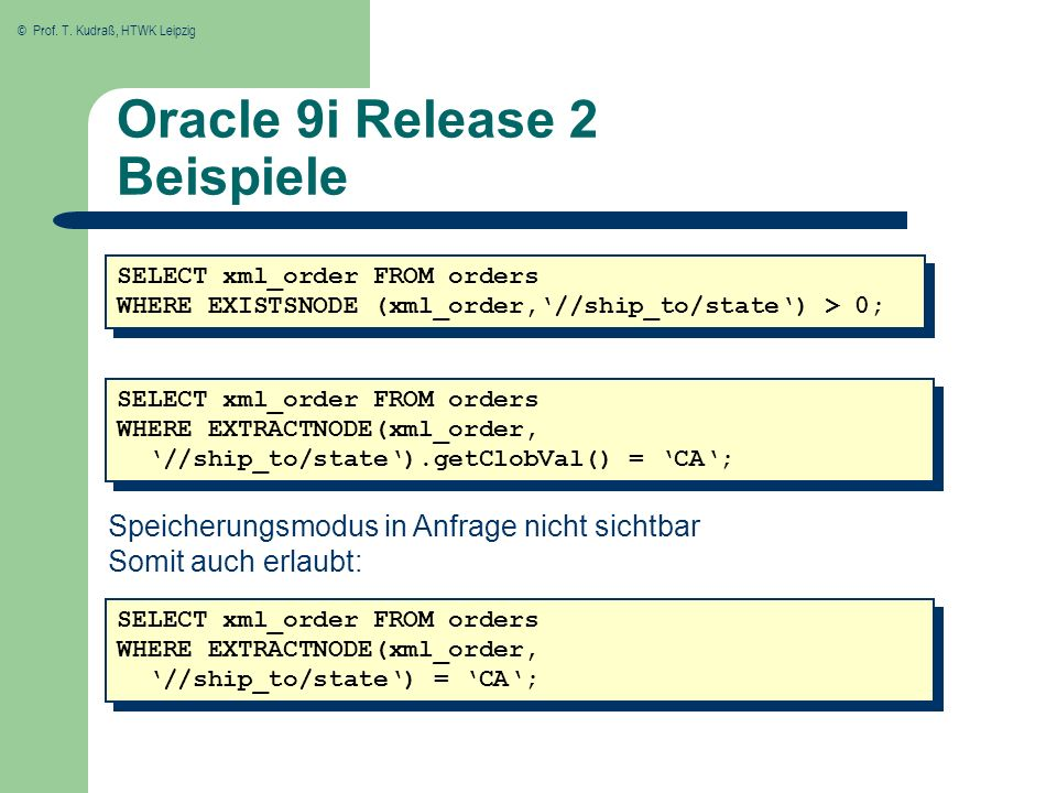 © Prof. T. Kudraß, HTWK Leipzig Oracle 9i Release 2 Beispiele SELECT xml_order FROM orders WHERE EXISTSNODE (xml_order,//ship_to/state) > 0; SELECT xm