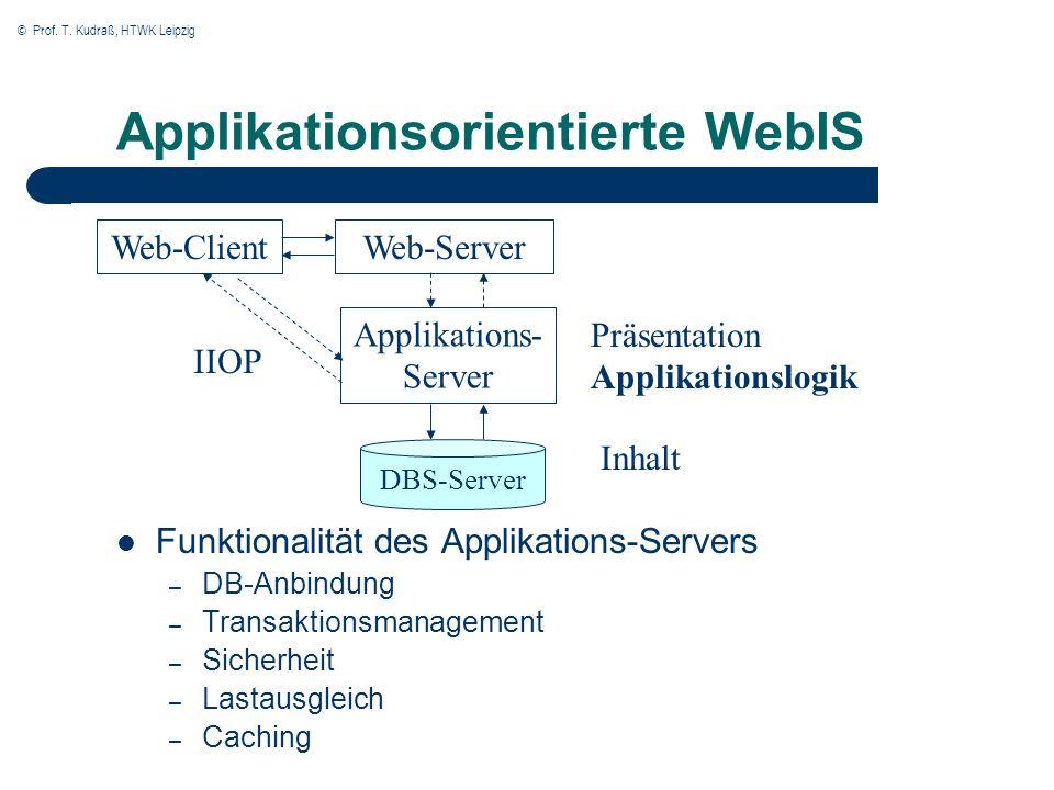© Prof. T. Kudraß, HTWK Leipzig Applikationsorientierte WebIS Funktionalität des Applikations-Servers – DB-Anbindung – Transaktionsmanagement – Sicher