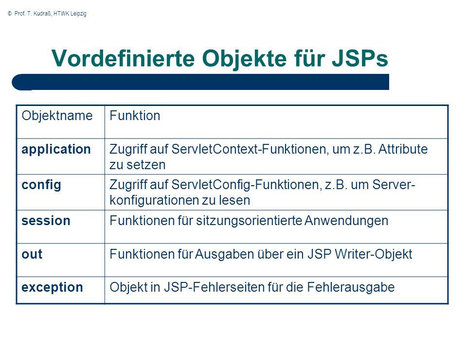 © Prof. T. Kudraß, HTWK Leipzig Vordefinierte Objekte für JSPs ObjektnameFunktion applicationZugriff auf ServletContext-Funktionen, um z.B. Attribute
