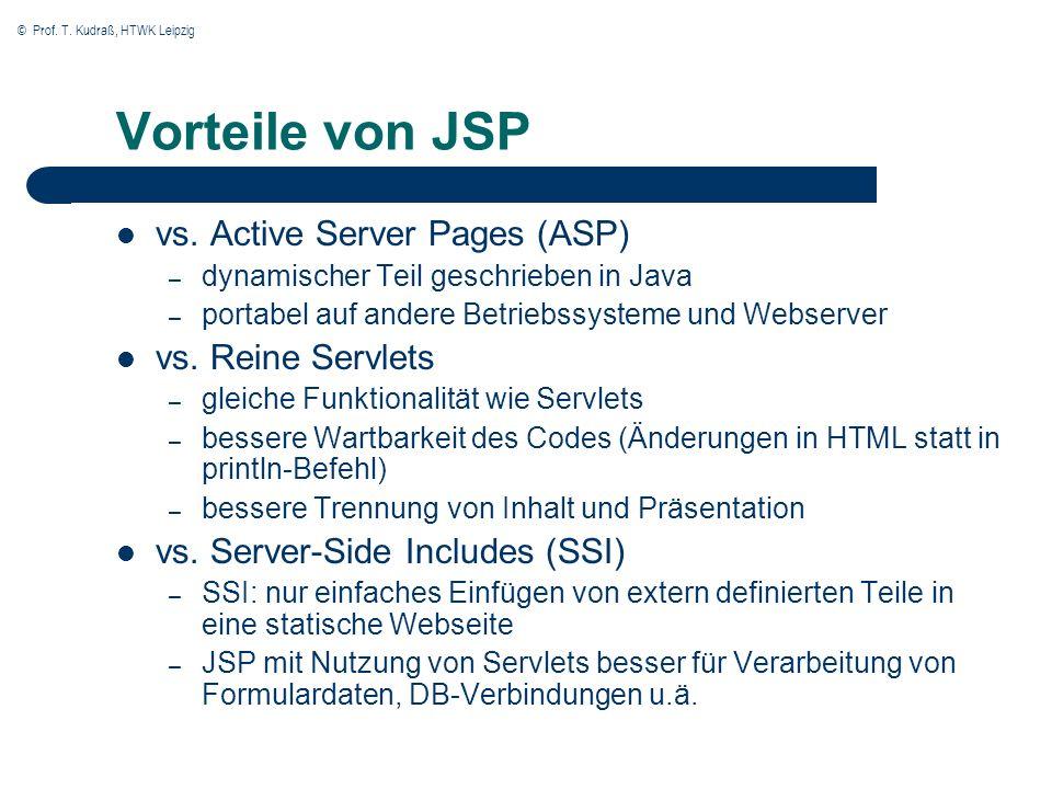 © Prof. T. Kudraß, HTWK Leipzig Vorteile von JSP vs. Active Server Pages (ASP) – dynamischer Teil geschrieben in Java – portabel auf andere Betriebssy