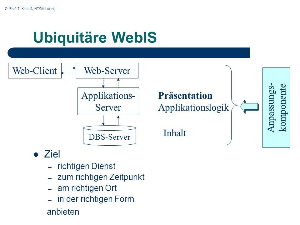© Prof. T. Kudraß, HTWK Leipzig Ubiquitäre WebIS Ziel – richtigen Dienst – zum richtigen Zeitpunkt – am richtigen Ort – in der richtigen Form anbieten