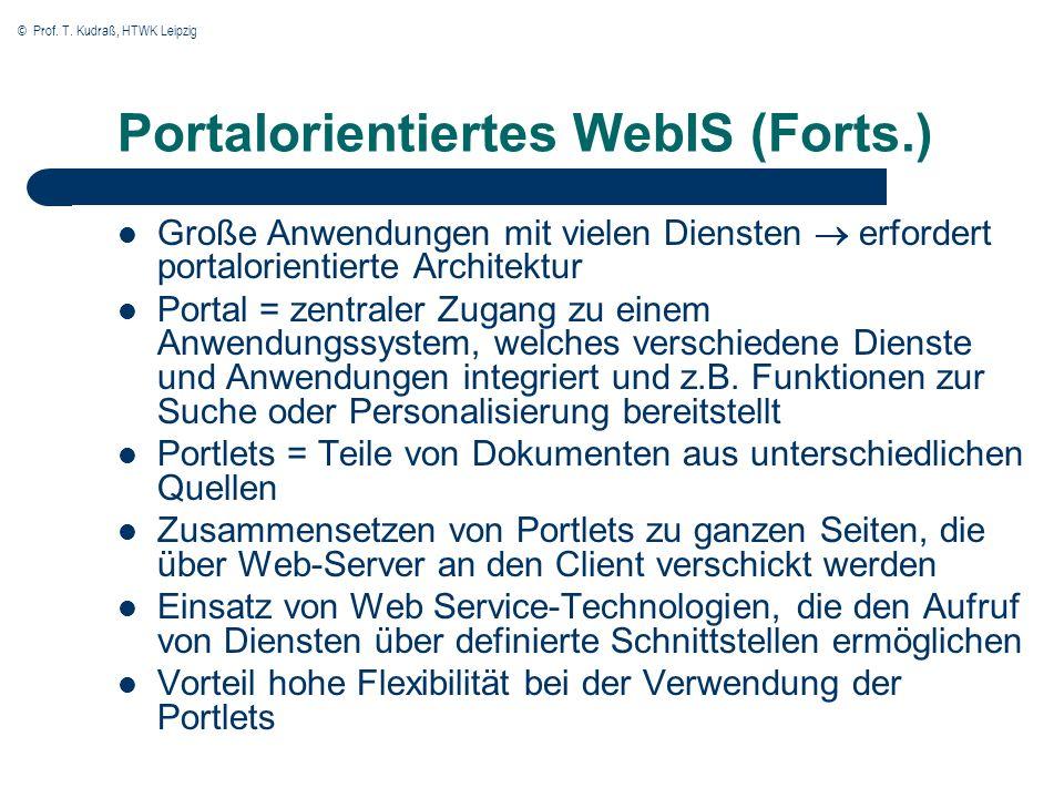 © Prof. T. Kudraß, HTWK Leipzig Portalorientiertes WebIS (Forts.) Große Anwendungen mit vielen Diensten erfordert portalorientierte Architektur Portal