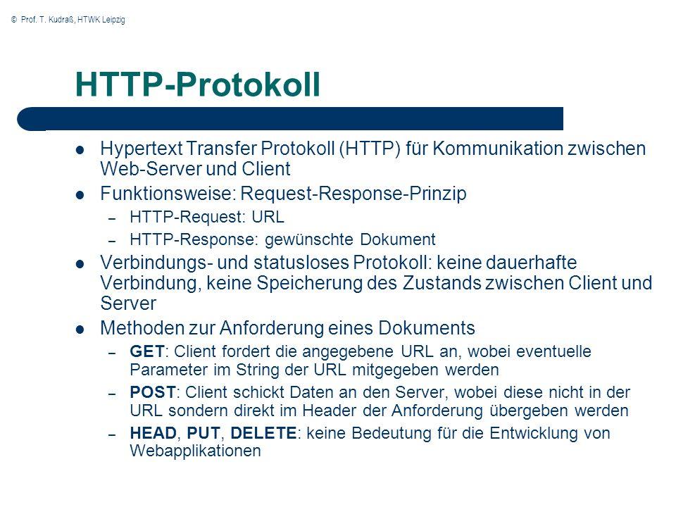 © Prof. T. Kudraß, HTWK Leipzig HTTP-Protokoll Hypertext Transfer Protokoll (HTTP) für Kommunikation zwischen Web-Server und Client Funktionsweise: Re