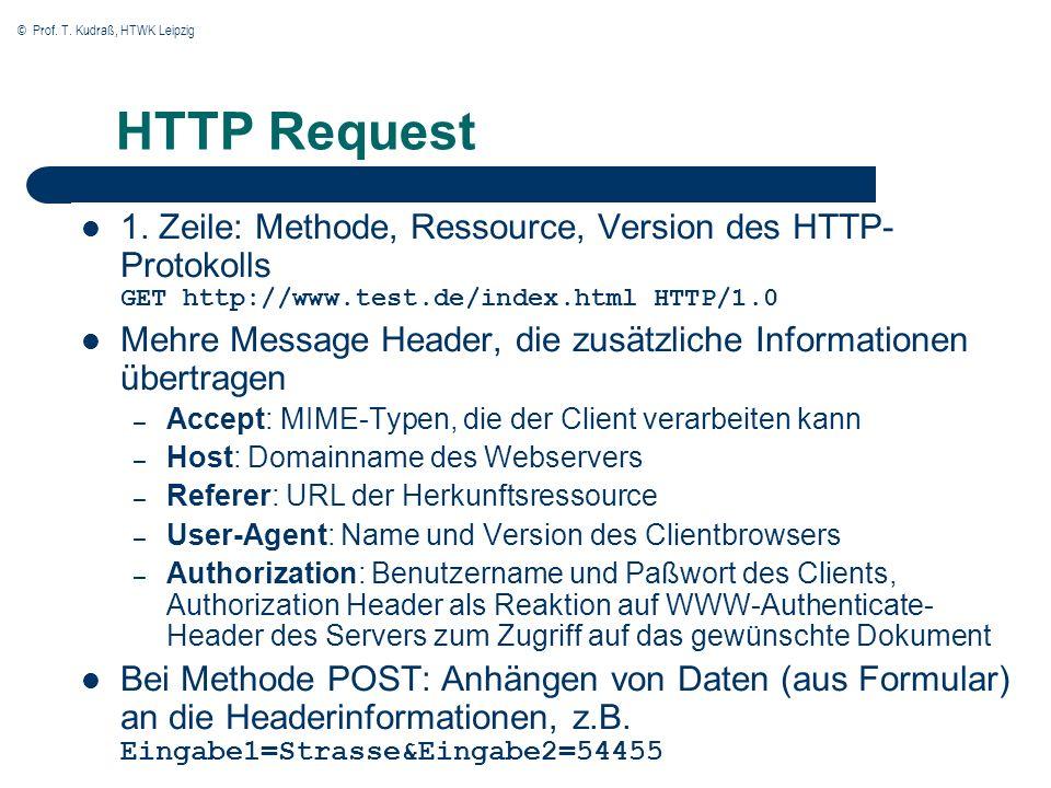 © Prof. T. Kudraß, HTWK Leipzig HTTP Request 1. Zeile: Methode, Ressource, Version des HTTP- Protokolls GET http://www.test.de/index.html HTTP/1.0 Meh