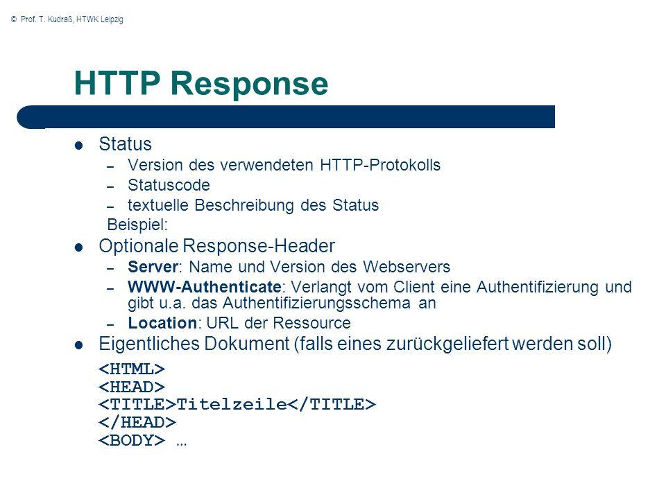 © Prof. T. Kudraß, HTWK Leipzig HTTP Response Status – Version des verwendeten HTTP-Protokolls – Statuscode – textuelle Beschreibung des Status Beispi