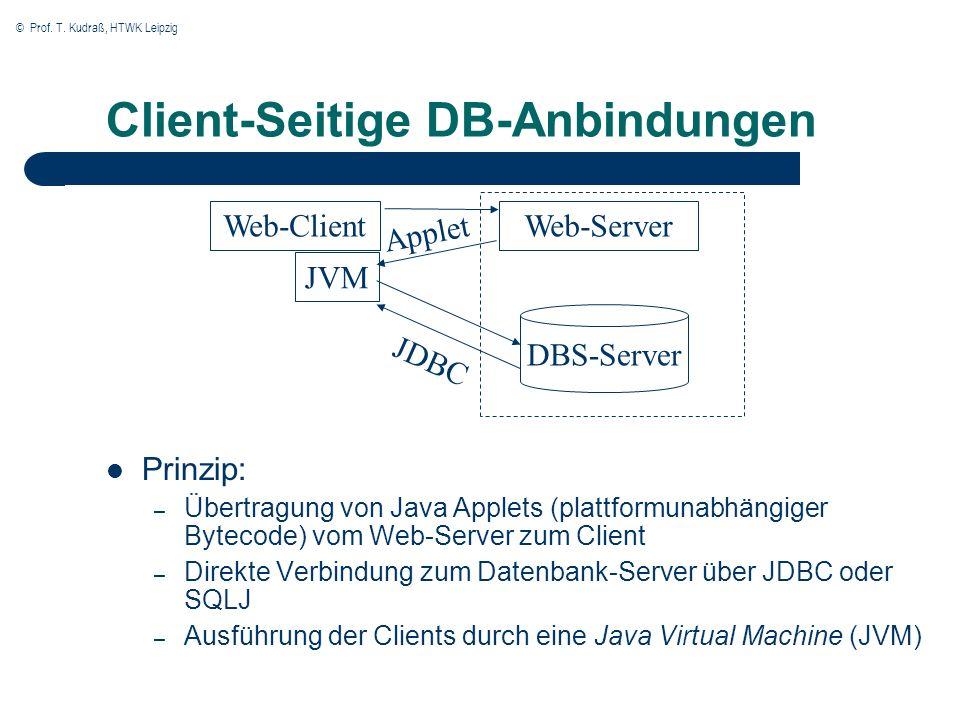 © Prof. T. Kudraß, HTWK Leipzig Client-Seitige DB-Anbindungen Prinzip: – Übertragung von Java Applets (plattformunabhängiger Bytecode) vom Web-Server