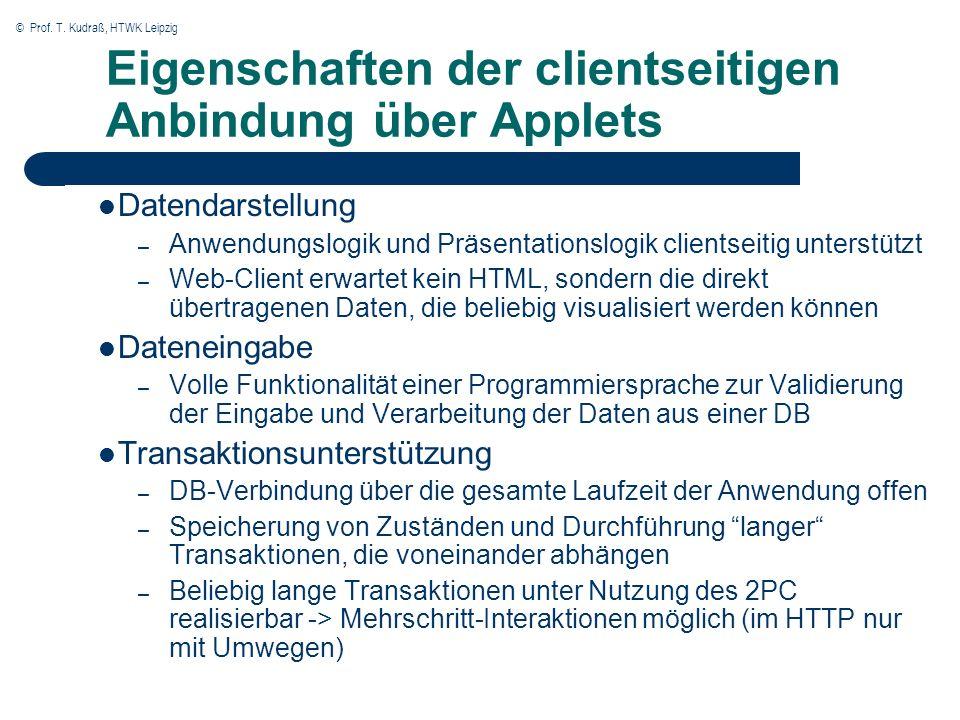 © Prof. T. Kudraß, HTWK Leipzig Eigenschaften der clientseitigen Anbindung über Applets Datendarstellung – Anwendungslogik und Präsentationslogik clie