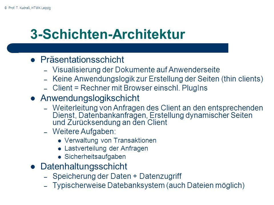© Prof. T. Kudraß, HTWK Leipzig 3-Schichten-Architektur Präsentationsschicht – Visualisierung der Dokumente auf Anwenderseite – Keine Anwendungslogik