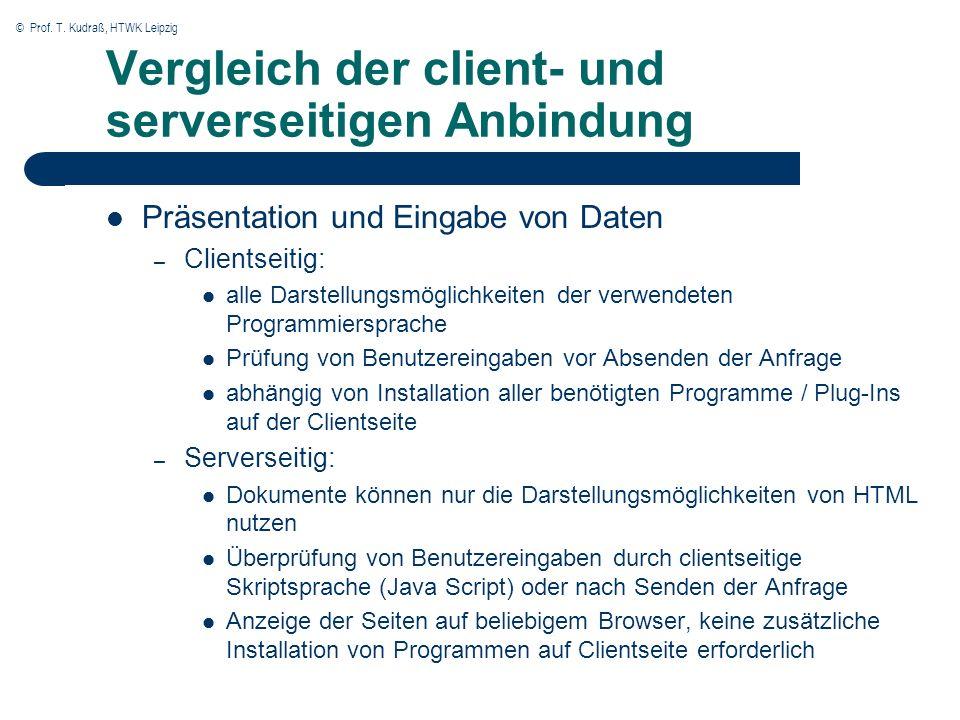 © Prof. T. Kudraß, HTWK Leipzig Vergleich der client- und serverseitigen Anbindung Präsentation und Eingabe von Daten – Clientseitig: alle Darstellung
