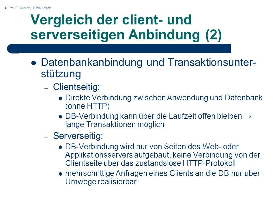 © Prof. T. Kudraß, HTWK Leipzig Vergleich der client- und serverseitigen Anbindung (2) Datenbankanbindung und Transaktionsunter- stützung – Clientseit