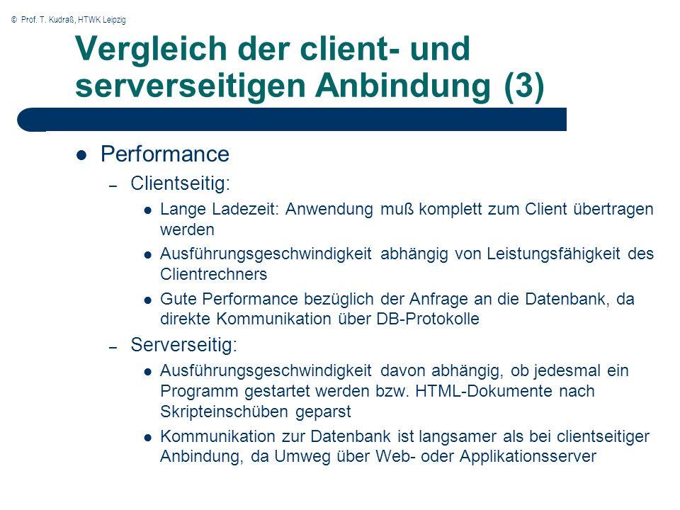 © Prof. T. Kudraß, HTWK Leipzig Vergleich der client- und serverseitigen Anbindung (3) Performance – Clientseitig: Lange Ladezeit: Anwendung muß kompl