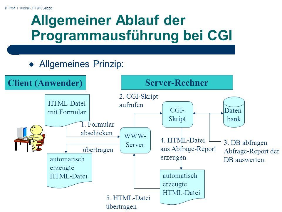 © Prof. T. Kudraß, HTWK Leipzig Allgemeiner Ablauf der Programmausführung bei CGI Allgemeines Prinzip: Client (Anwender) Server-Rechner HTML-Datei mit