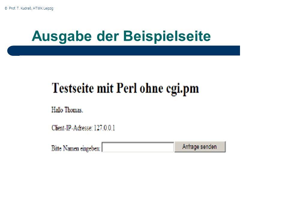 © Prof. T. Kudraß, HTWK Leipzig Ausgabe der Beispielseite