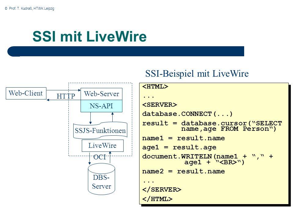 © Prof. T. Kudraß, HTWK Leipzig SSI mit LiveWire Web-Client Web-Server NS-API SSJS-Funktionen LiveWire DBS- Server OCI HTTP... database.CONNECT(...) r