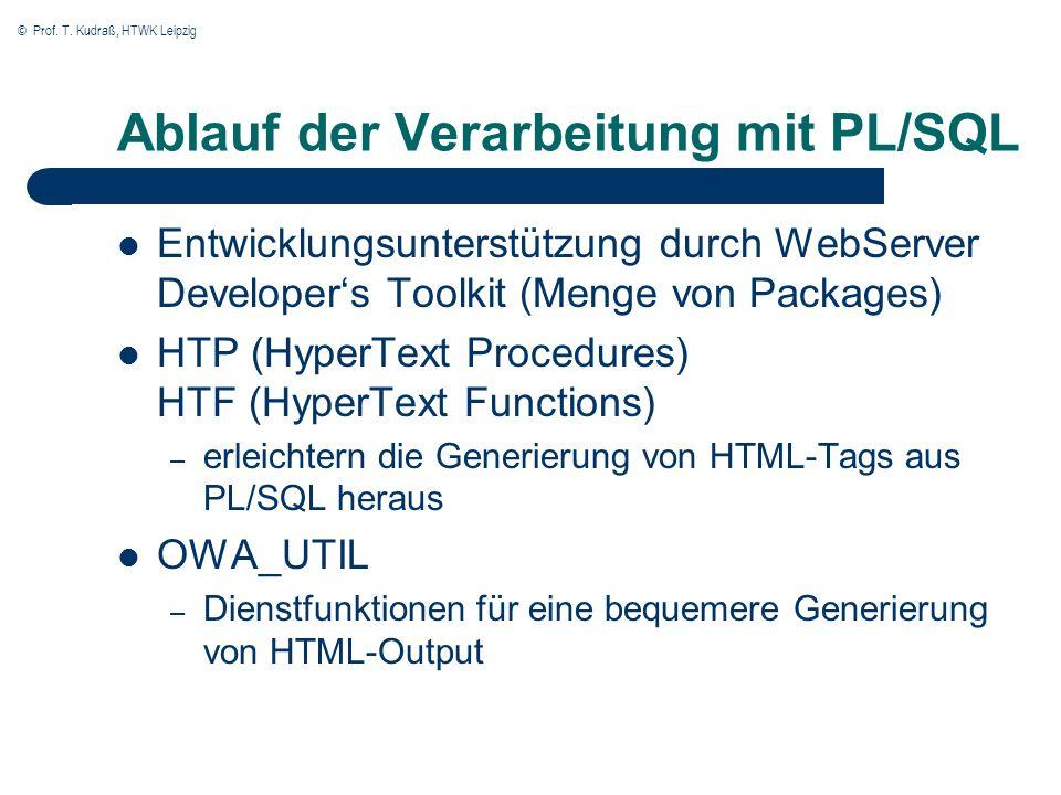 © Prof. T. Kudraß, HTWK Leipzig Ablauf der Verarbeitung mit PL/SQL Entwicklungsunterstützung durch WebServer Developers Toolkit (Menge von Packages) H
