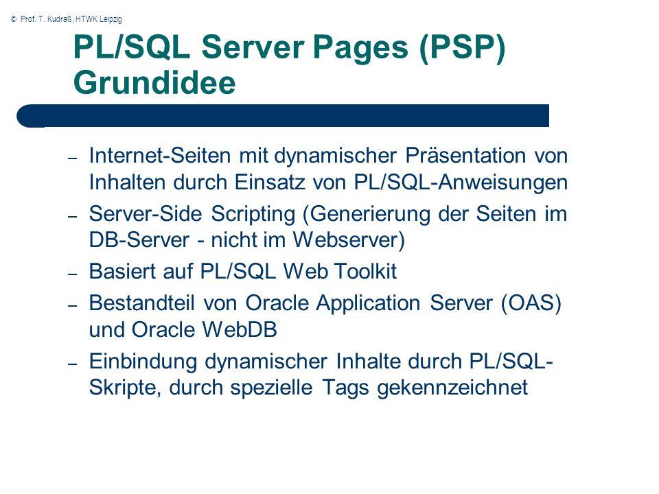 © Prof. T. Kudraß, HTWK Leipzig PL/SQL Server Pages (PSP) Grundidee – Internet-Seiten mit dynamischer Präsentation von Inhalten durch Einsatz von PL/S