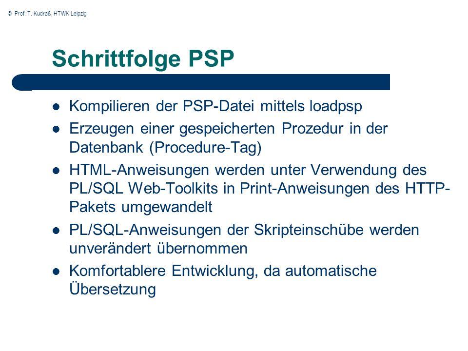 © Prof. T. Kudraß, HTWK Leipzig Schrittfolge PSP Kompilieren der PSP-Datei mittels loadpsp Erzeugen einer gespeicherten Prozedur in der Datenbank (Pro