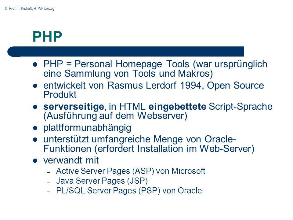 © Prof. T. Kudraß, HTWK Leipzig PHP PHP = Personal Homepage Tools (war ursprünglich eine Sammlung von Tools und Makros) entwickelt von Rasmus Lerdorf