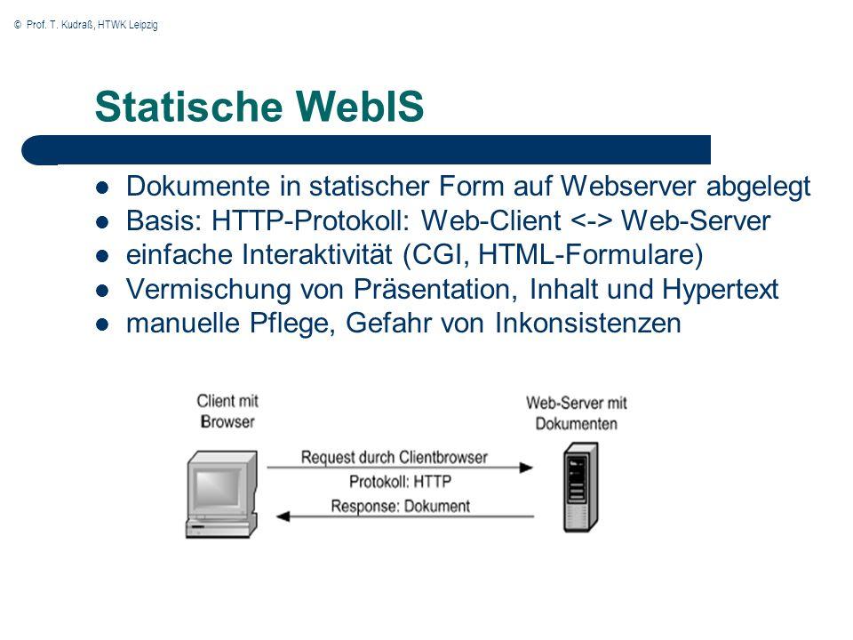 © Prof. T. Kudraß, HTWK Leipzig Statische WebIS Dokumente in statischer Form auf Webserver abgelegt Basis: HTTP-Protokoll: Web-Client Web-Server einfa