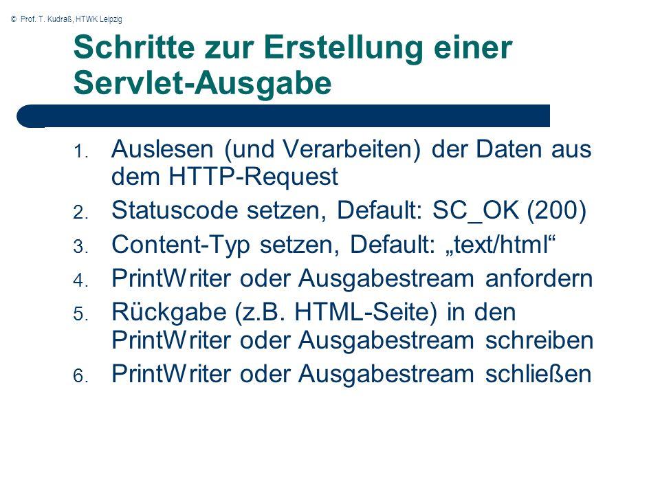 © Prof. T. Kudraß, HTWK Leipzig Schritte zur Erstellung einer Servlet-Ausgabe 1.