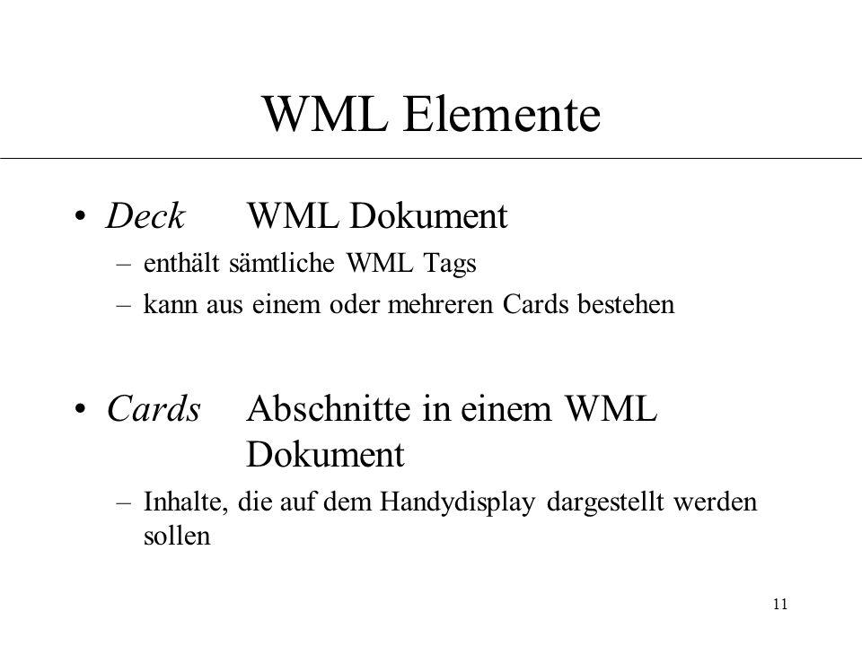 11 WML Elemente Deck WML Dokument –enthält sämtliche WML Tags –kann aus einem oder mehreren Cards bestehen Cards Abschnitte in einem WML Dokument –Inhalte, die auf dem Handydisplay dargestellt werden sollen