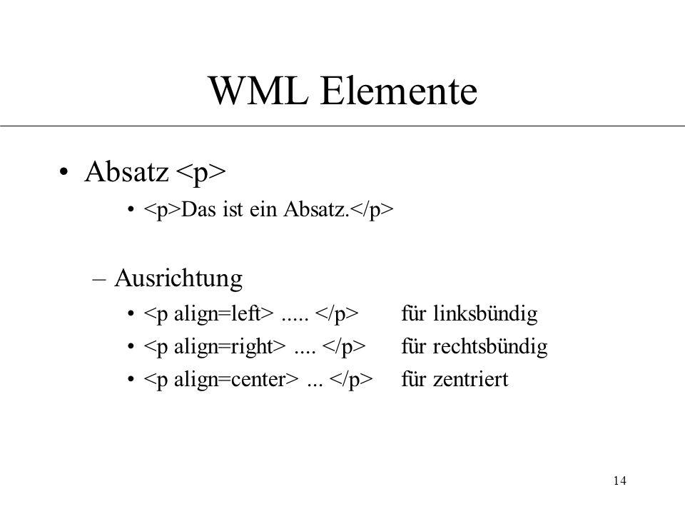 14 WML Elemente Absatz Das ist ein Absatz. –Ausrichtung.....