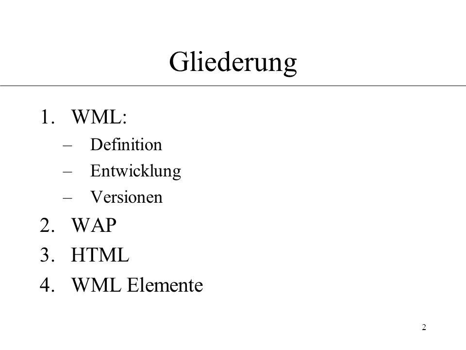 2 Gliederung 1.WML: –Definition –Entwicklung –Versionen 2.WAP 3.HTML 4.WML Elemente