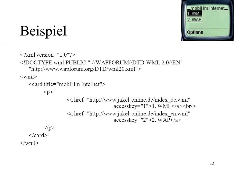 22 Beispiel 1. WML 2. WAP