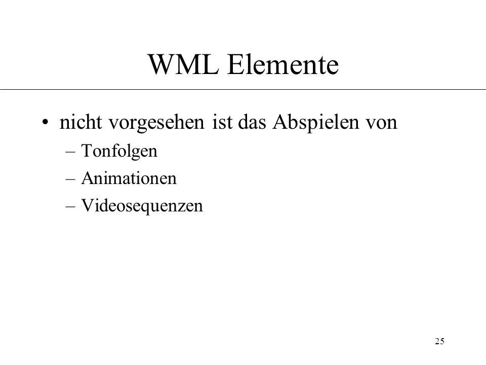 25 WML Elemente nicht vorgesehen ist das Abspielen von –Tonfolgen –Animationen –Videosequenzen