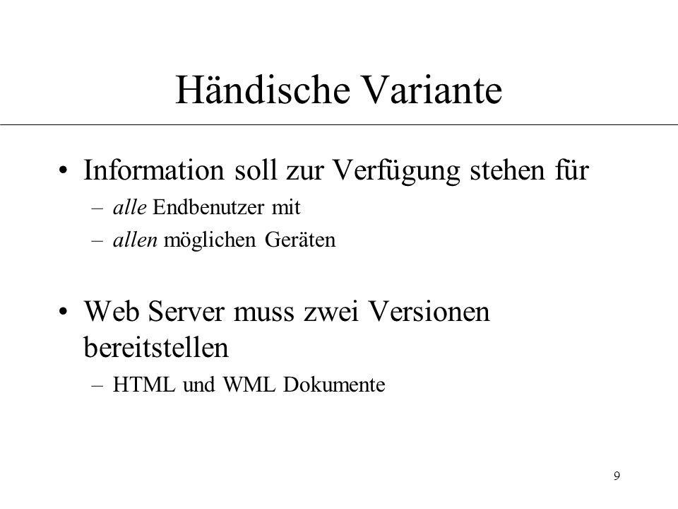 9 Händische Variante Information soll zur Verfügung stehen für –alle Endbenutzer mit –allen möglichen Geräten Web Server muss zwei Versionen bereitstellen –HTML und WML Dokumente