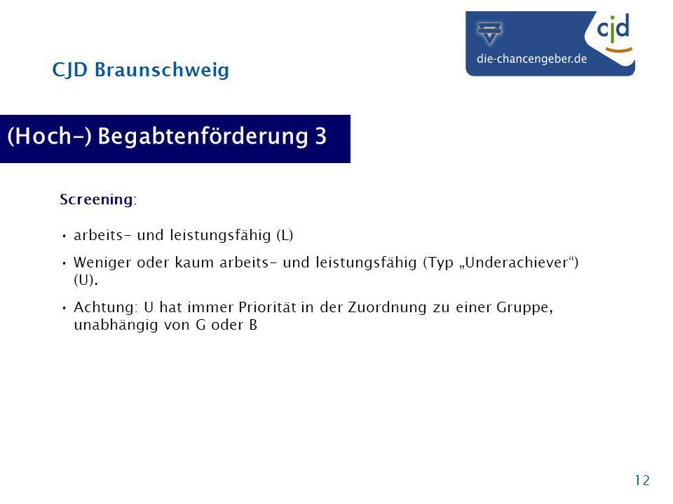 CJD Braunschweig 12 (Hoch-) Begabtenförderung 3 Screening: arbeits- und leistungsfähig (L) Weniger oder kaum arbeits- und leistungsfähig (Typ Underach