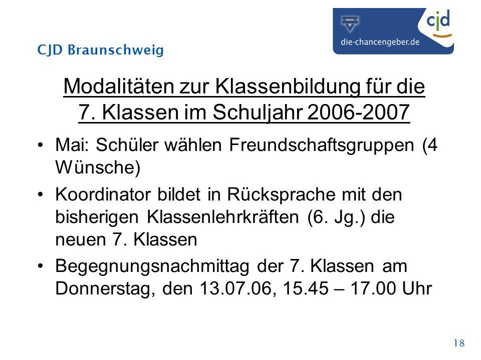 CJD Braunschweig 18 Modalitäten zur Klassenbildung für die 7. Klassen im Schuljahr 2006-2007 Mai: Schüler wählen Freundschaftsgruppen (4 Wünsche) Koor