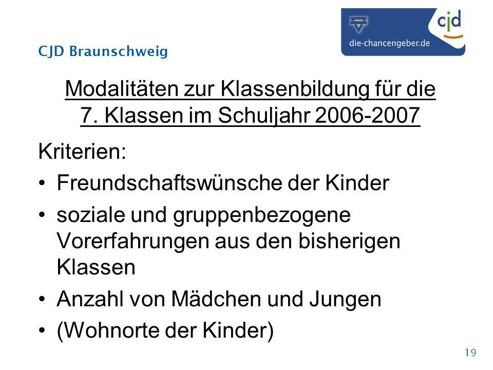 CJD Braunschweig 19 Modalitäten zur Klassenbildung für die 7. Klassen im Schuljahr 2006-2007 Kriterien: Freundschaftswünsche der Kinder soziale und gr