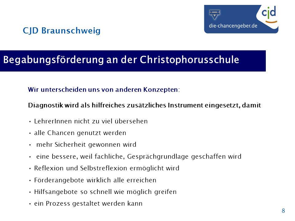 CJD Braunschweig 8 Begabungsförderung an der Christophorusschule Wir unterscheiden uns von anderen Konzepten: Diagnostik wird als hilfreiches zusätzli