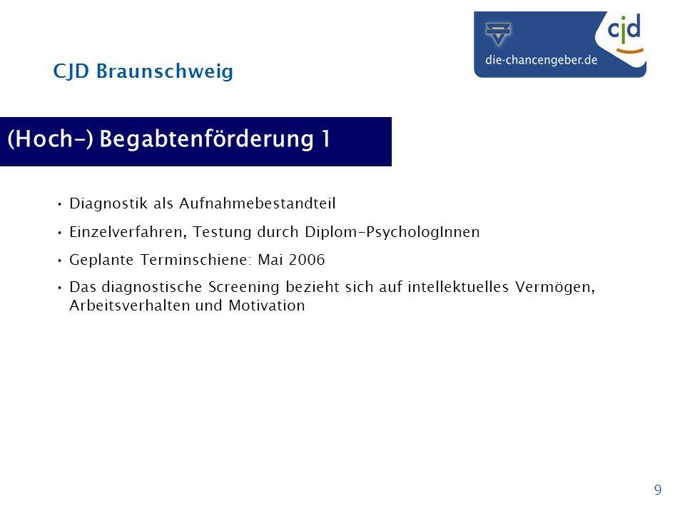 CJD Braunschweig 9 (Hoch-) Begabtenförderung 1 Diagnostik als Aufnahmebestandteil Einzelverfahren, Testung durch Diplom-PsychologInnen Geplante Termin