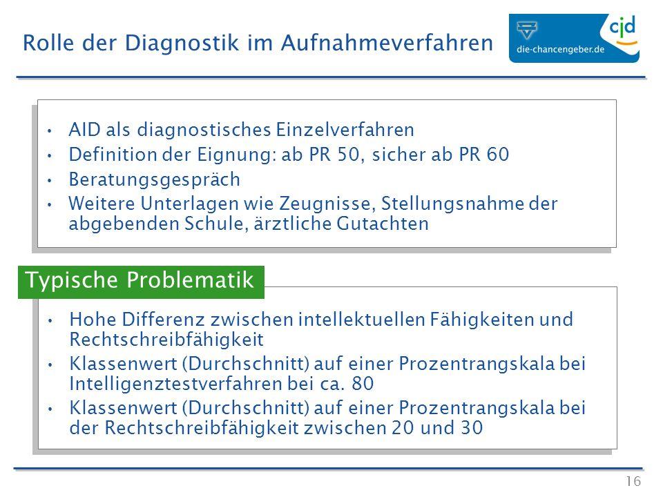 16 AID als diagnostisches Einzelverfahren Definition der Eignung: ab PR 50, sicher ab PR 60 Beratungsgespräch Weitere Unterlagen wie Zeugnisse, Stellu