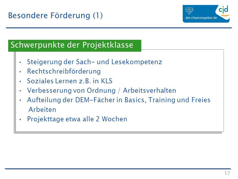 17 Besondere Förderung (1) Steigerung der Sach- und Lesekompetenz Rechtschreibförderung Soziales Lernen z.B. in KLS Verbesserung von Ordnung / Arbeits