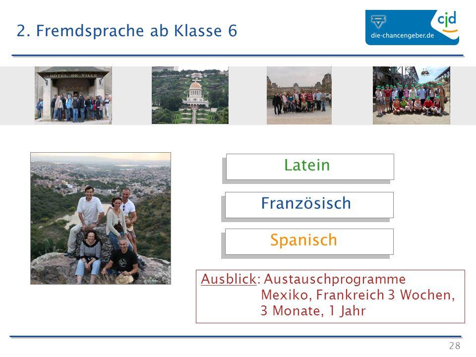 28 Latein Französisch Spanisch Ausblick: Austauschprogramme Mexiko, Frankreich 3 Wochen, 3 Monate, 1 Jahr 2. Fremdsprache ab Klasse 6