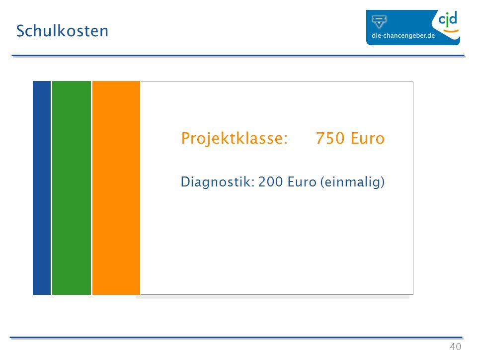 40 Schulkosten Projektklasse: 750 Euro Diagnostik: 200 Euro (einmalig) Projektklasse: 750 Euro Diagnostik: 200 Euro (einmalig)
